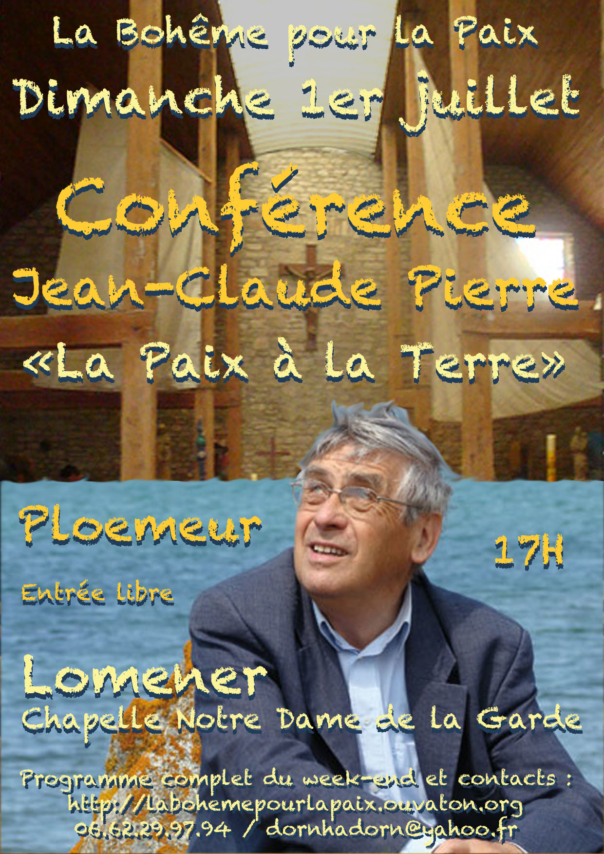 Affiche Conférence de Jean-Claude Pierre la Paix à la Terre
